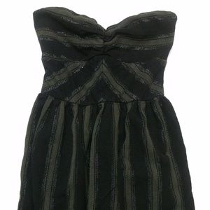 ROXY A-Line Strapless Black and Gray Dress Size M
